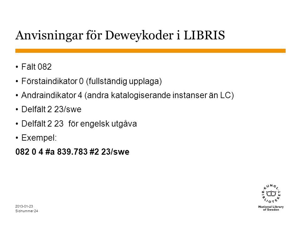 Sidnummer 2013-01-23 24 Anvisningar för Deweykoder i LIBRIS Fält 082 Förstaindikator 0 (fullständig upplaga) Andraindikator 4 (andra katalogiserande instanser än LC) Delfält 2 23/swe Delfält 2 23 för engelsk utgåva Exempel: 082 0 4 #a 839.783 #2 23/swe