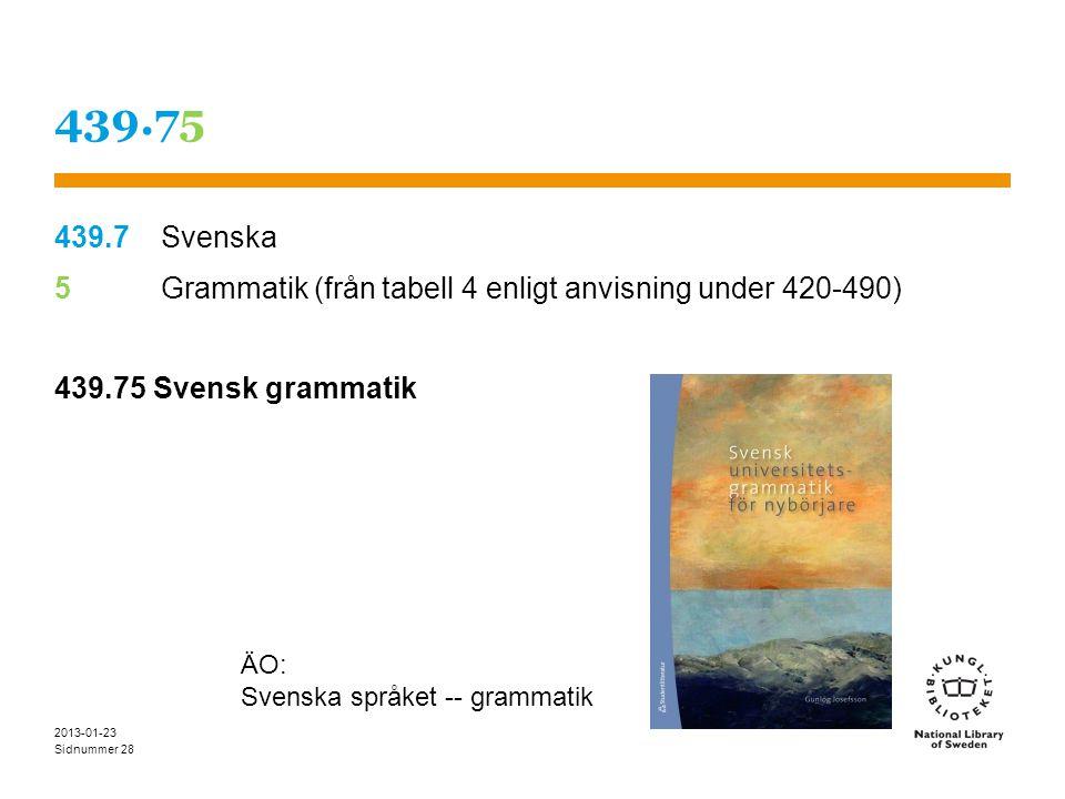 Sidnummer 2013-01-23 28 439.75 439.7Svenska 5 Grammatik (från tabell 4 enligt anvisning under 420-490) 439.75 Svensk grammatik ÄO: Svenska språket -- grammatik