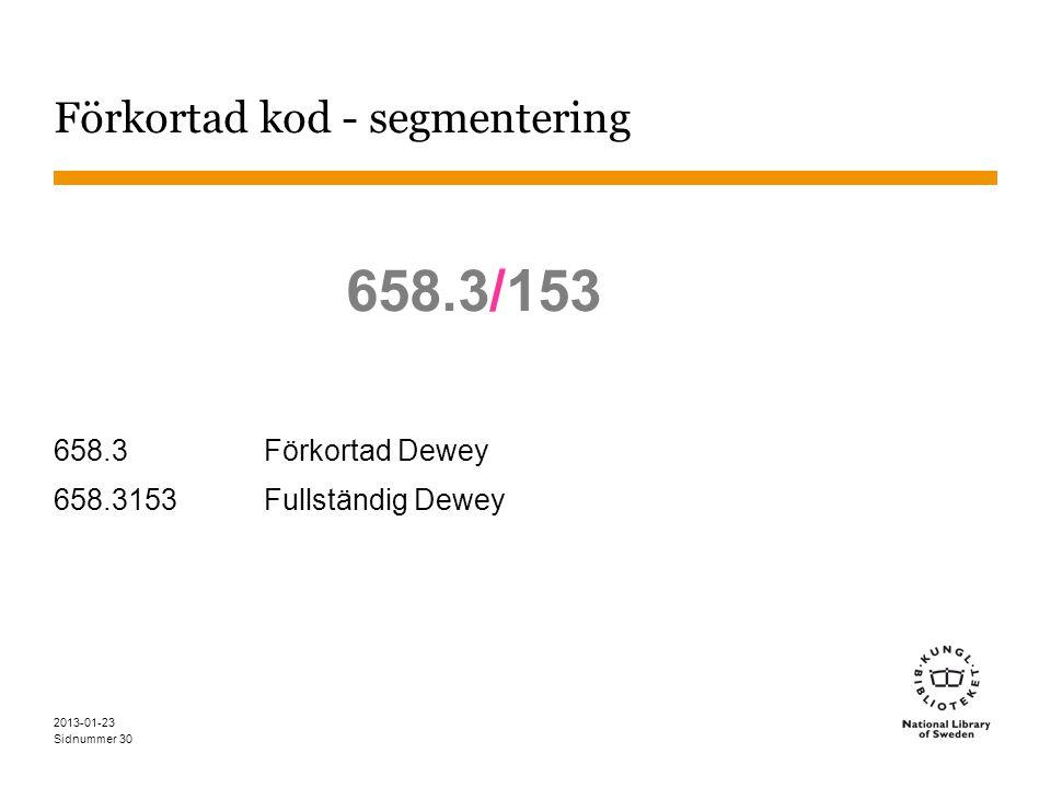 Sidnummer Förkortad kod - segmentering 658.3/153 658.3Förkortad Dewey 658.3153Fullständig Dewey 2013-01-23 30