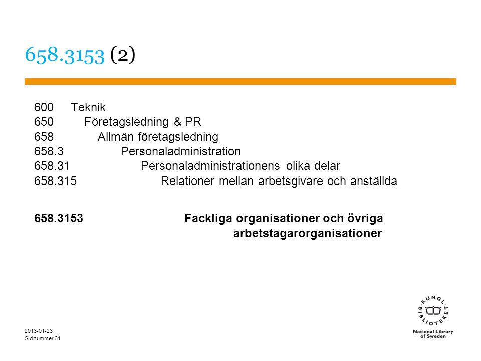 Sidnummer 2013-01-23 31 658.3153 (2) 600 Teknik 650 Företagsledning & PR 658 Allmän företagsledning 658.3 Personaladministration 658.31 Personaladministrationens olika delar 658.315 Relationer mellan arbetsgivare och anställda 658.3153 Fackliga organisationer och övriga arbetstagarorganisationer