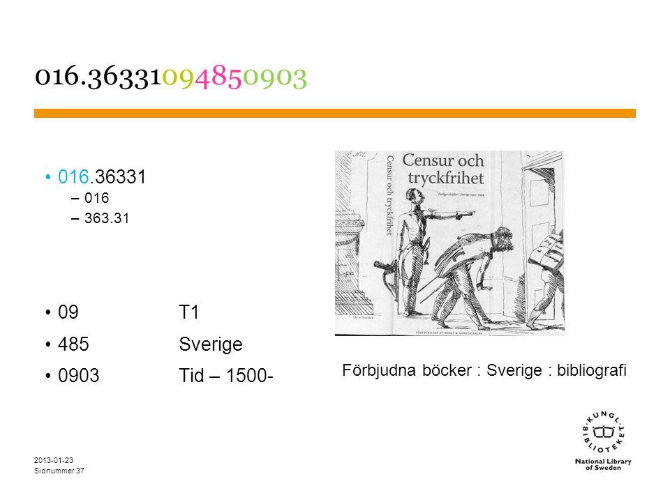 Sidnummer 016.36331094850903 016.36331 –016 –363.31 09T1 485Sverige 0903 Tid – 1500- 2013-01-23 37 Förbjudna böcker : Sverige : bibliografi
