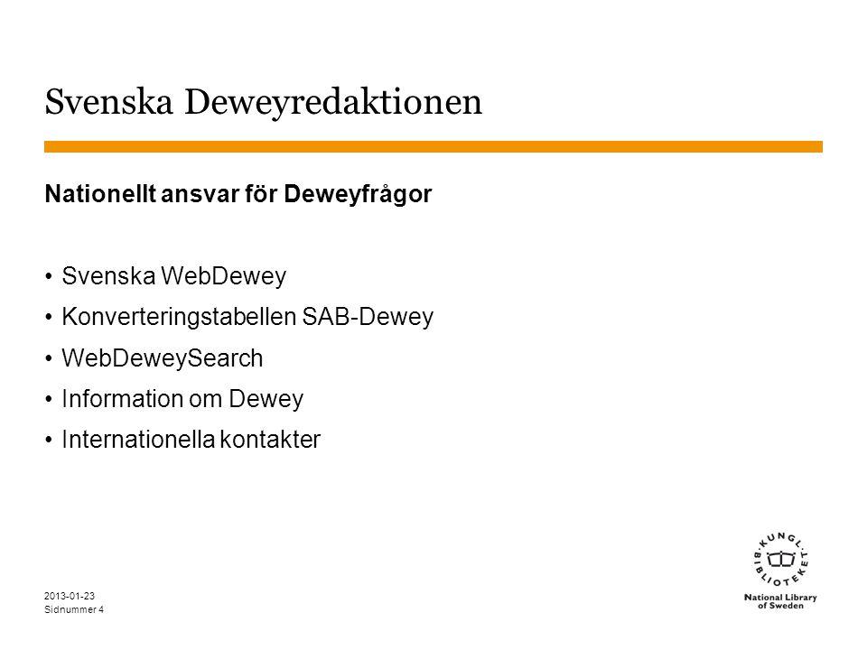 Sidnummer 2013-01-23 5 Svenska Deweyredaktionen Deweyprojektet 2009-2012 har gjort en blandad översättning av Dewey Fortsatt översättning: –Förändringar i DDC (engelska) –För att förbättra svenska Dewey –Indextermer på svenska –Byggda koder För att förbättra svenska WebDeweySearch –Mappning av svenska ämnesord –Byggda koder