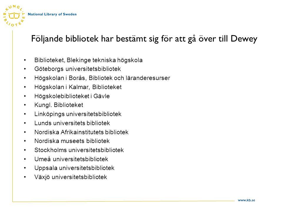 www.kb.se Följande bibliotek har bestämt sig för att gå över till Dewey Biblioteket, Blekinge tekniska högskola Göteborgs universitetsbibliotek Högskolan i Borås, Bibliotek och läranderesurser Högskolan i Kalmar, Biblioteket Högskolebiblioteket i Gävle Kungl.