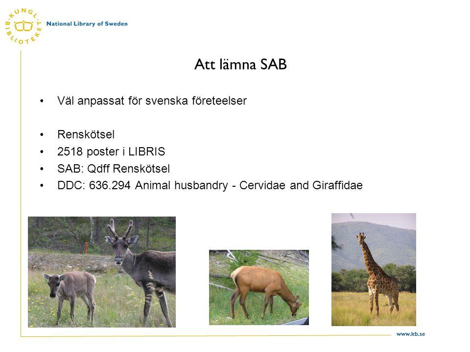 www.kb.se Att lämna SAB (2) Men samlingarna på svenska bibliotek handlar inte bara om Sverige och svenska företeelser Kameler som husdjur 37 poster i LIBRIS SAB: Qdfö Övriga husdjur DDC: 636.295 Animal husbandry - Camels