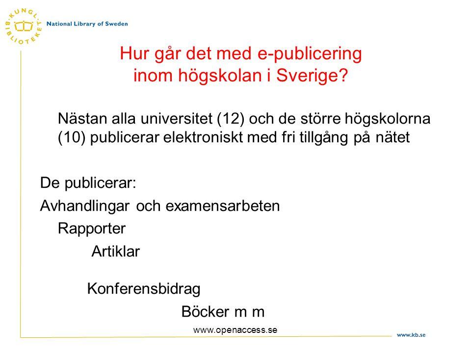 www.kb.se www.openaccess.se Hur går det med e-publicering inom högskolan i Sverige.