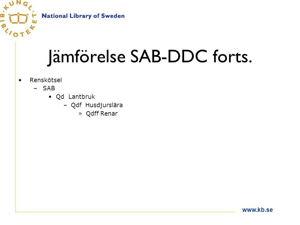 Jämförelse SAB-DDC forts. Renskötsel –SAB Qd Lantbruk –Qdf Husdjurslära »Qdff Renar