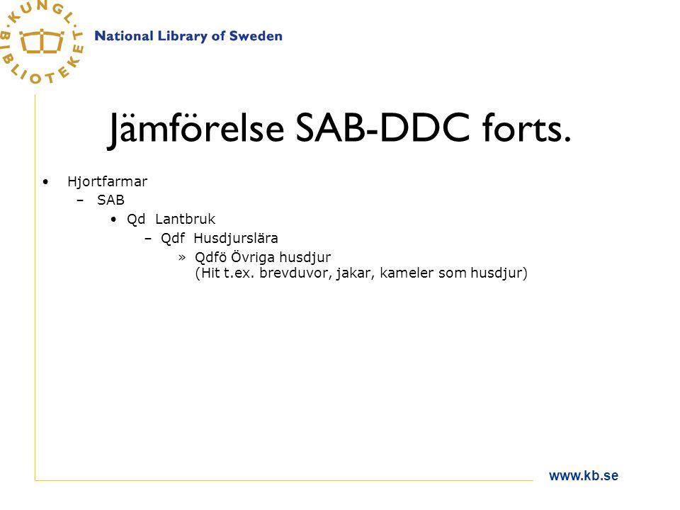Jämförelse SAB-DDC forts.