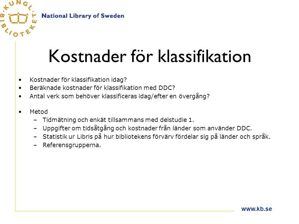 www.kb.se Kostnader för klassifikation Kostnader för klassifikation idag.
