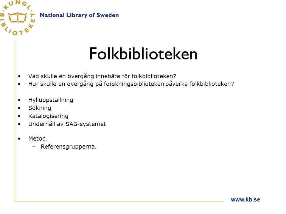 www.kb.se Folkbiblioteken Vad skulle en övergång innebära för folkbiblioteken.