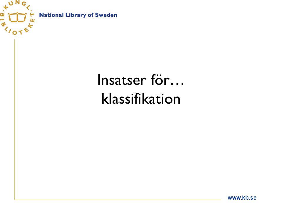www.kb.se Insatser för… klassifikation