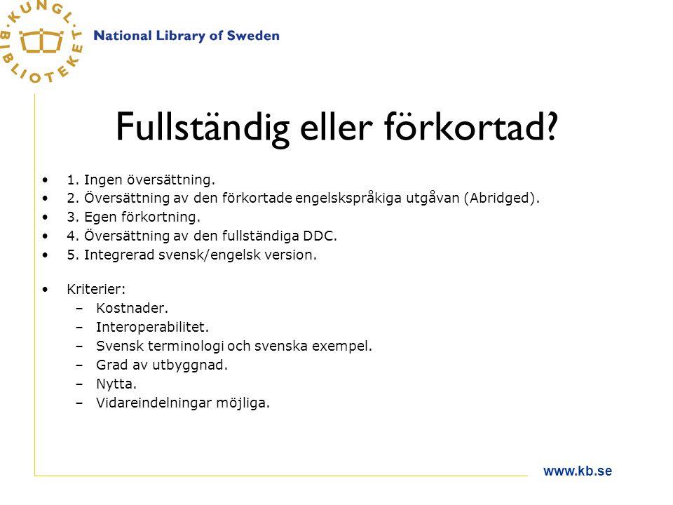 www.kb.se Fullständig eller förkortad.1. Ingen översättning.