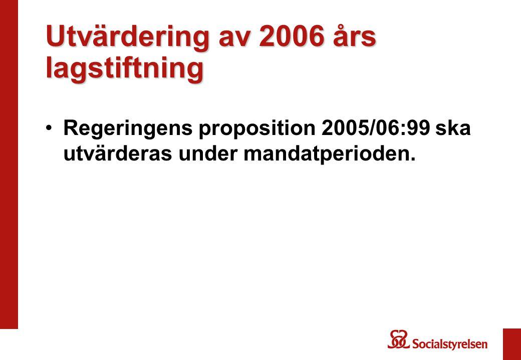 Utvärdering av 2006 års lagstiftning Regeringens proposition 2005/06:99 ska utvärderas under mandatperioden.