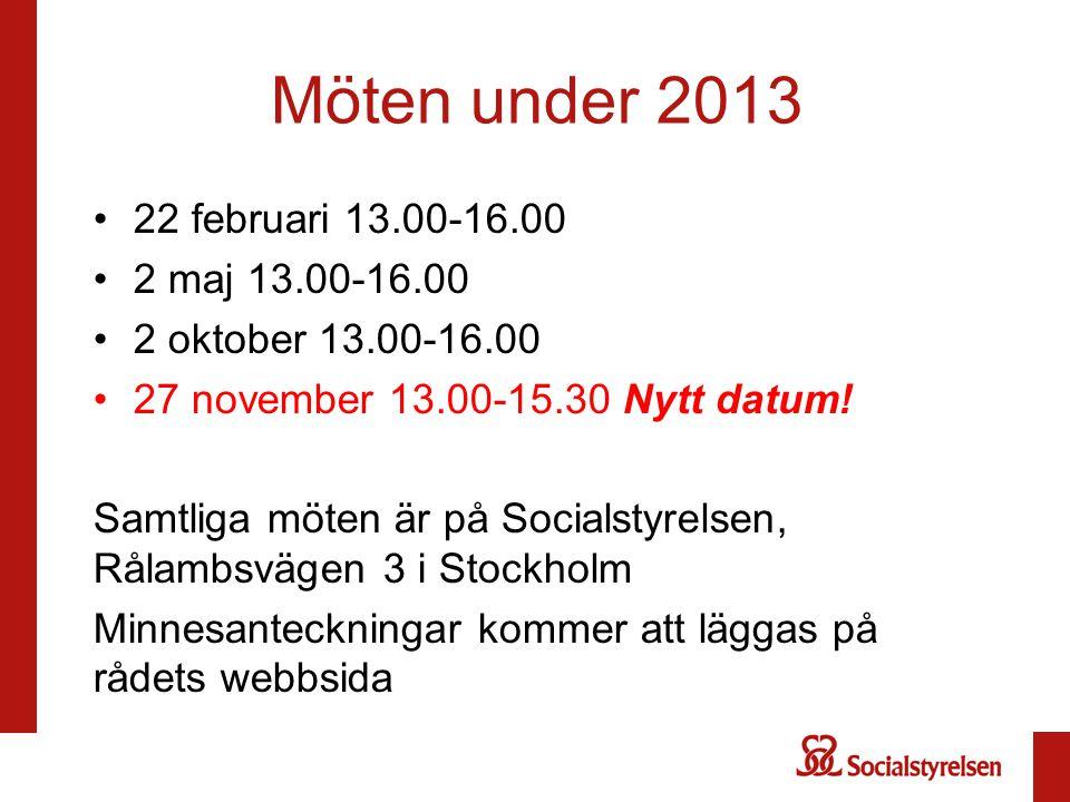 Möten under 2013 22 februari 13.00-16.00 2 maj 13.00-16.00 2 oktober 13.00-16.00 27 november 13.00-15.30 Nytt datum! Samtliga möten är på Socialstyrel