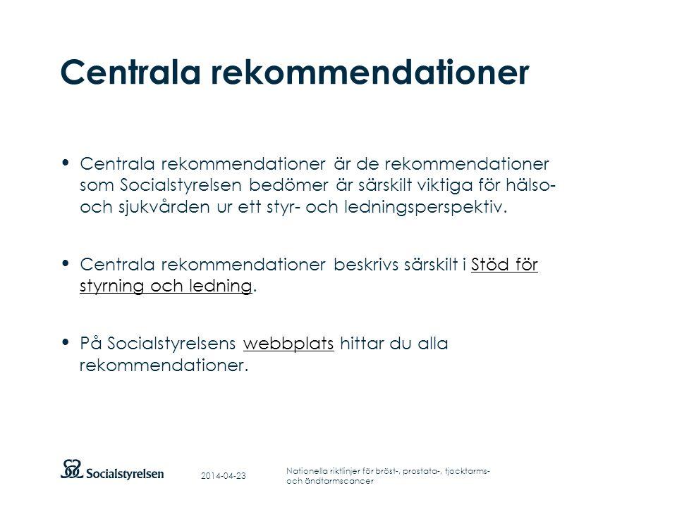 Att visa fotnot, datum, sidnummer Klicka på fliken Infoga och klicka på ikonen sidhuvud/sidfot Klistra in text: Klistra in texten, klicka på ikonen (Ctrl), välj Behåll endast text Punktlista nivå 1: Century Gothic, bold 19pt Nivå 2: Century Gothic normal 19pt Rubrik: Century Gothic, bold 33pt Centrala rekommendationer 2014-04-23 Nationella riktlinjer för bröst-, prostata-, tjocktarms- och ändtarmscancer Centrala rekommendationer är de rekommendationer som Socialstyrelsen bedömer är särskilt viktiga för hälso- och sjukvården ur ett styr- och ledningsperspektiv.