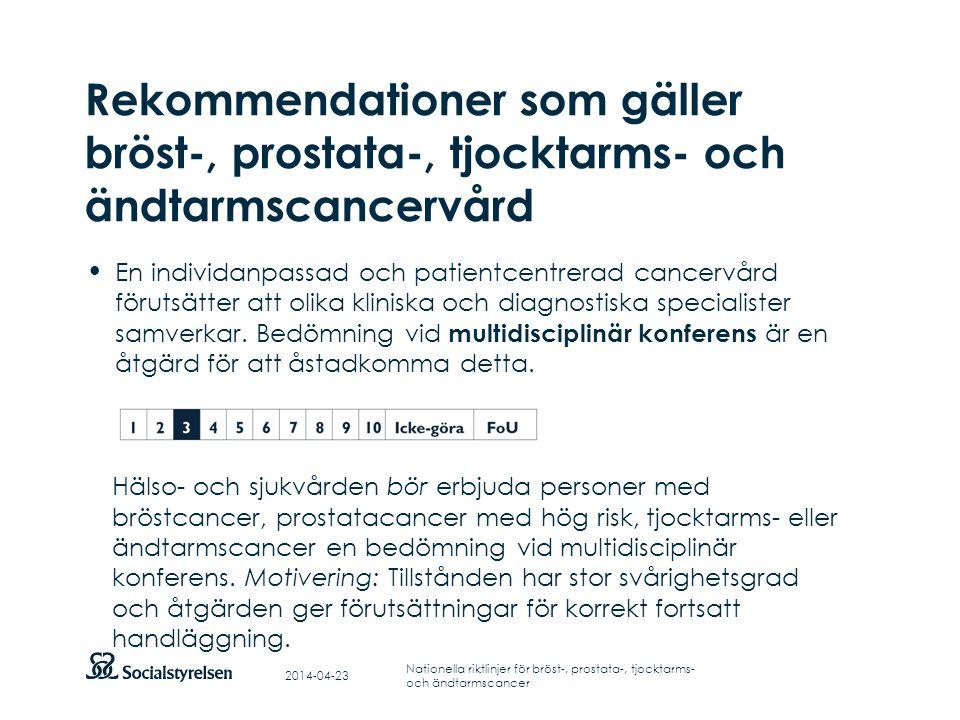 Att visa fotnot, datum, sidnummer Klicka på fliken Infoga och klicka på ikonen sidhuvud/sidfot Klistra in text: Klistra in texten, klicka på ikonen (Ctrl), välj Behåll endast text Punktlista nivå 1: Century Gothic, normal 19pt Nivå 2: Century Gothic normal 19pt Rubrik: Century Gothic, bold 33pt Rekommendationer som gäller bröst-, prostata-, tjocktarms- och ändtarmscancervård En individanpassad och patientcentrerad cancervård förutsätter att olika kliniska och diagnostiska specialister samverkar.