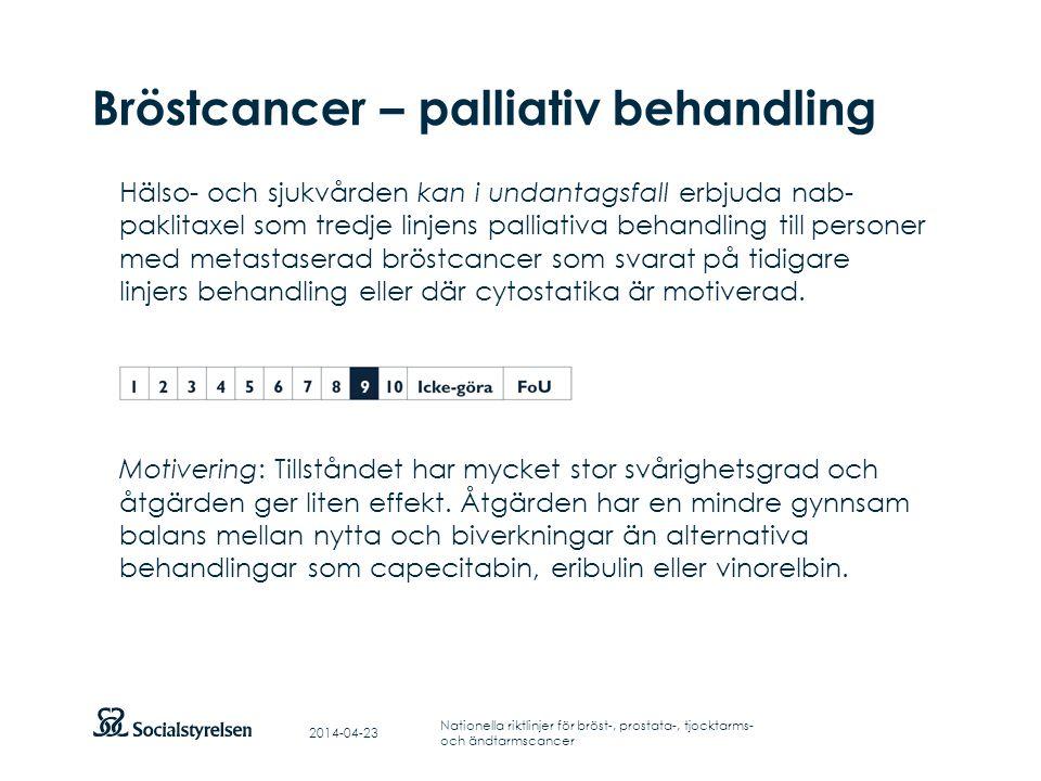 Att visa fotnot, datum, sidnummer Klicka på fliken Infoga och klicka på ikonen sidhuvud/sidfot Klistra in text: Klistra in texten, klicka på ikonen (Ctrl), välj Behåll endast text Punktlista nivå 1: Century Gothic, normal 19pt Nivå 2: Century Gothic normal 19pt Rubrik: Century Gothic, bold 33pt Bröstcancer – palliativ behandling Hälso- och sjukvården kan i undantagsfall erbjuda nab- paklitaxel som tredje linjens palliativa behandling till personer med metastaserad bröstcancer som svarat på tidigare linjers behandling eller där cytostatika är motiverad.