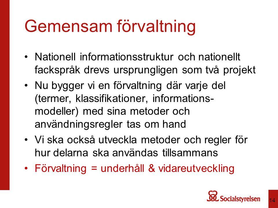Gemensam förvaltning Nationell informationsstruktur och nationellt fackspråk drevs ursprungligen som två projekt Nu bygger vi en förvaltning där varje