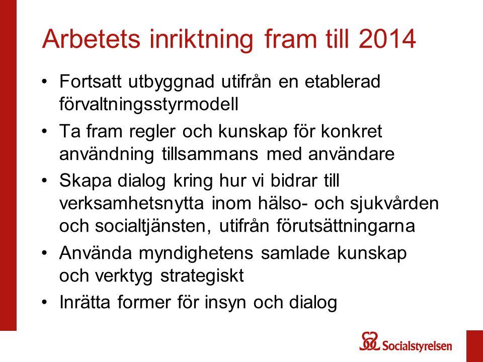 Arbetets inriktning fram till 2014 Fortsatt utbyggnad utifrån en etablerad förvaltningsstyrmodell Ta fram regler och kunskap för konkret användning ti
