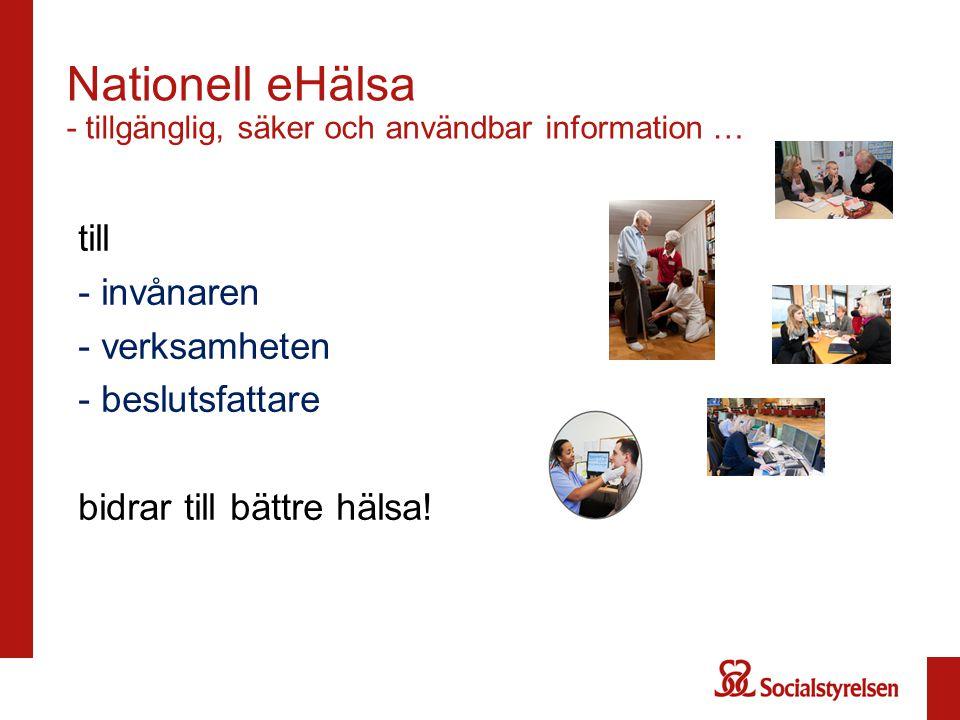 Nationell eHälsa - tillgänglig, säker och användbar information … till - invånaren - verksamheten - beslutsfattare bidrar till bättre hälsa!