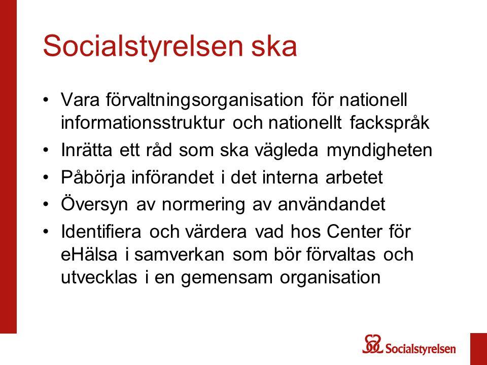Socialstyrelsen ska Vara förvaltningsorganisation för nationell informationsstruktur och nationellt fackspråk Inrätta ett råd som ska vägleda myndighe