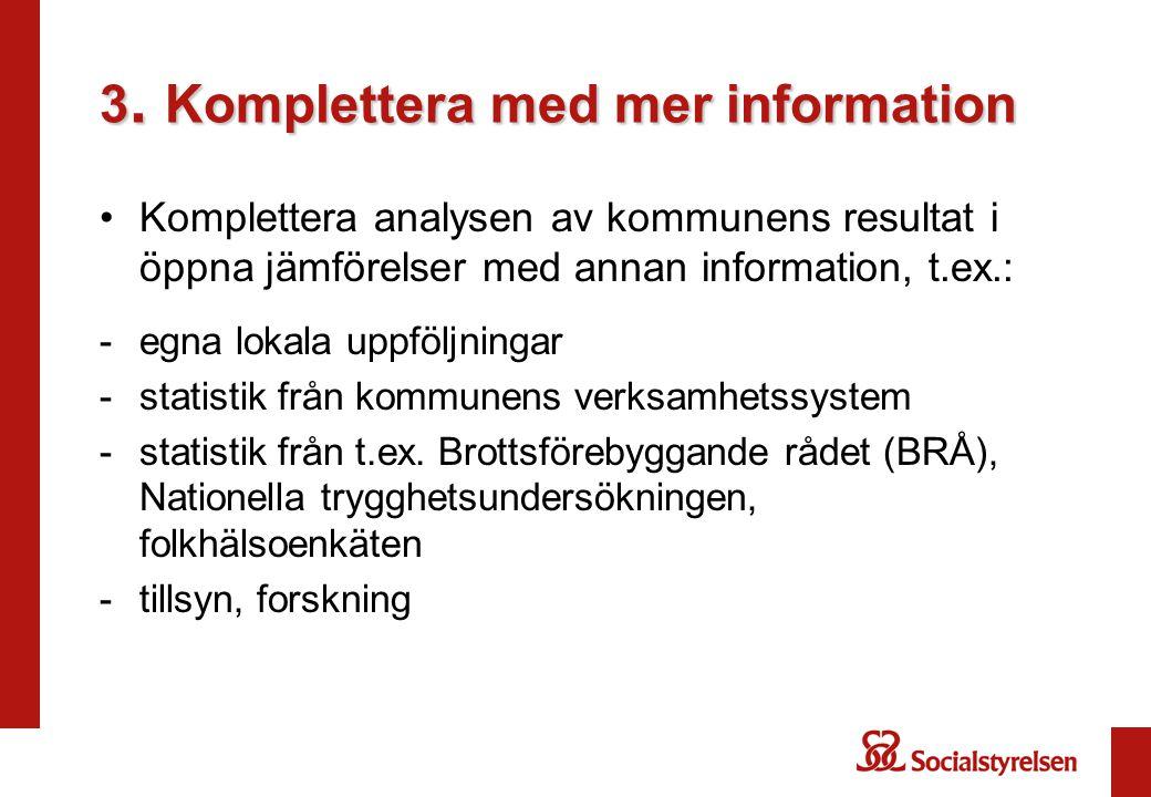 3. Komplettera med mer information Komplettera analysen av kommunens resultat i öppna jämförelser med annan information, t.ex.: -egna lokala uppföljni