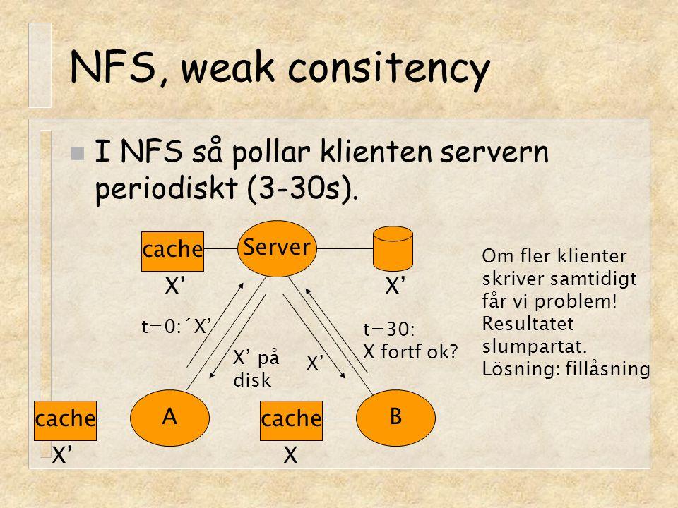NFS, weak consitency n I NFS så pollar klienten servern periodiskt (3-30s). Server cache AB X' t=0:´X' X' på disk t=30: X fortf ok? X' X Om fler klien