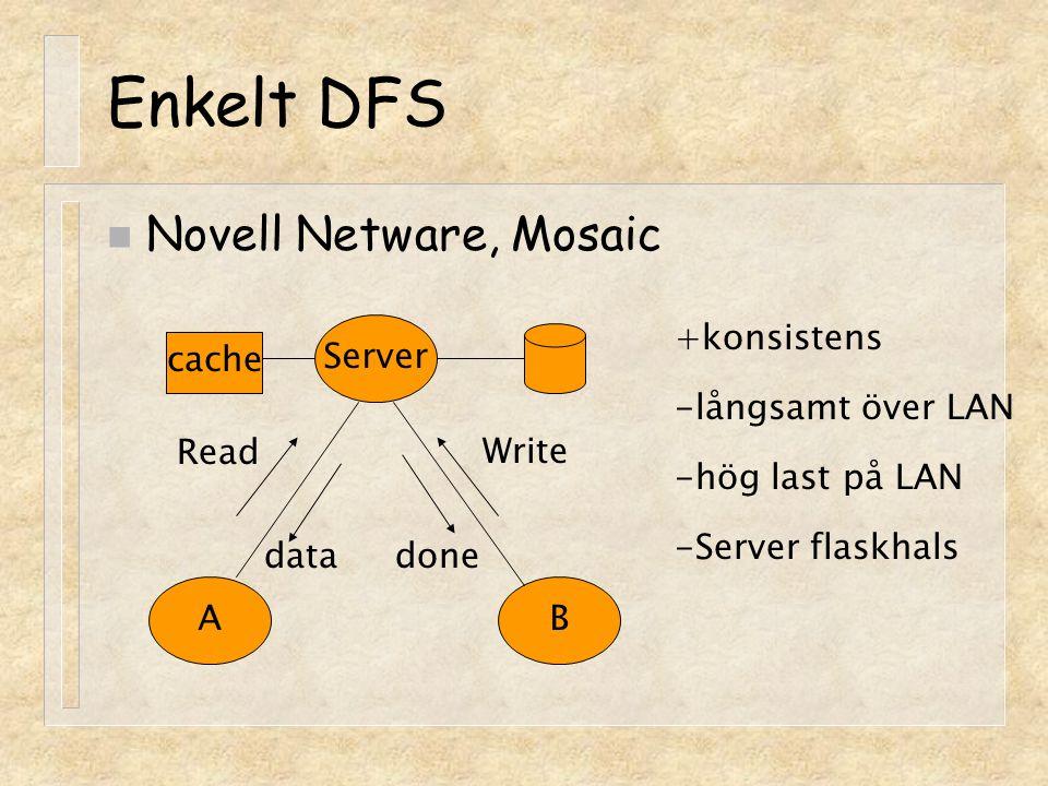 NFS (Sun Network File System) systemanrop VFS interface Annat FS UFS NFS klient RPC/XDR UDP IP NFS server RPC/XDR UDP VFS interface UFS (open,read,write,close) (vnode) (inode) Klient Server