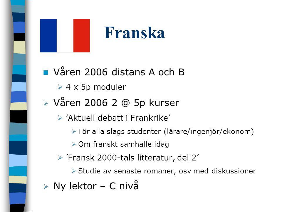 Franska Våren 2006 distans A och B  4 x 5p moduler  Våren 2006 2 @ 5p kurser  'Aktuell debatt i Frankrike'  För alla slags studenter (lärare/ingenjör/ekonom)  Om franskt samhälle idag  'Fransk 2000-tals litteratur, del 2'  Studie av senaste romaner, osv med diskussioner  Ny lektor – C nivå