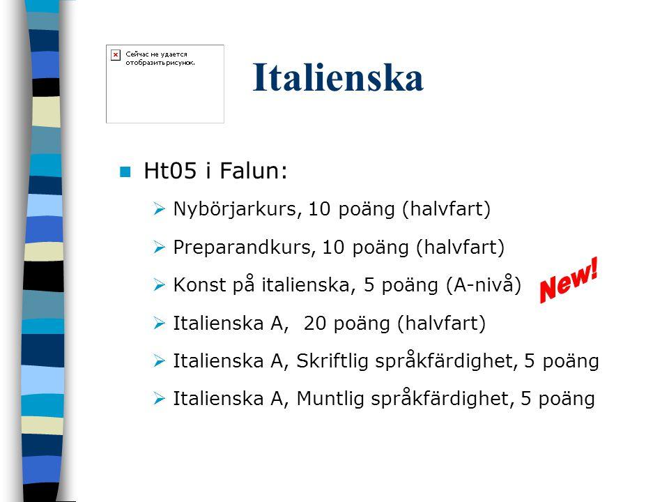 Italienska Ht05 i Falun:  Nybörjarkurs, 10 poäng (halvfart)  Preparandkurs, 10 poäng (halvfart)  Konst på italienska, 5 poäng (A-nivå)  Italienska A, 20 poäng (halvfart)  Italienska A, Skriftlig språkfärdighet, 5 poäng  Italienska A, Muntlig språkfärdighet, 5 poäng