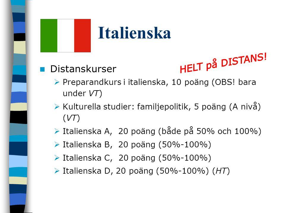 Italienska Distanskurser  Preparandkurs i italienska, 10 poäng (OBS.