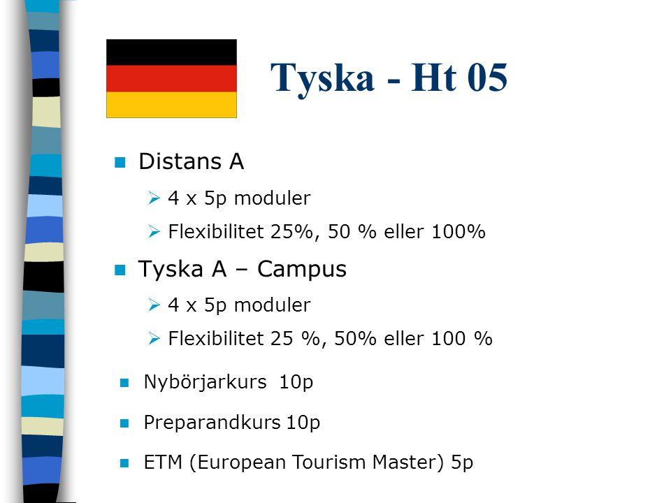 Tyska - Ht 05 Distans A  4 x 5p moduler  Flexibilitet 25%, 50 % eller 100% Tyska A – Campus  4 x 5p moduler  Flexibilitet 25 %, 50% eller 100 % Nybörjarkurs 10p Preparandkurs 10p ETM (European Tourism Master) 5p