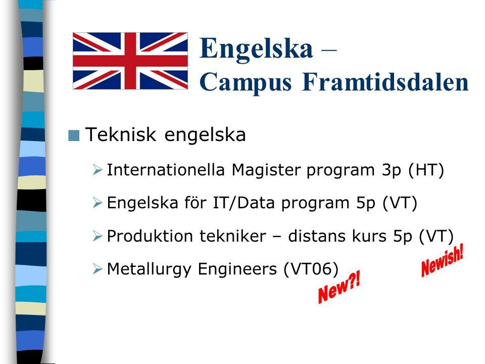 Tyska – VT06 Tyska A distans och campus  4 x 5p moduler  Flexibilitet 25%, 50%, 100%  Kombination campusstudier och distansstudier möjligt Tyska B distans  2 x 5p moduler  Flexibilitet 25%, 50% Nybörjarkurs forts.