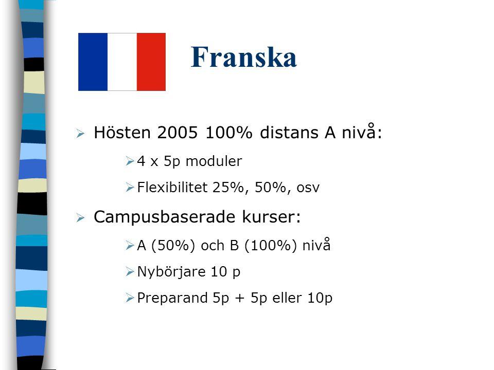 Franska  Hösten 2005 100% distans A nivå:  4 x 5p moduler  Flexibilitet 25%, 50%, osv  Campusbaserade kurser:  A (50%) och B (100%) nivå  Nybörjare 10 p  Preparand 5p + 5p eller 10p