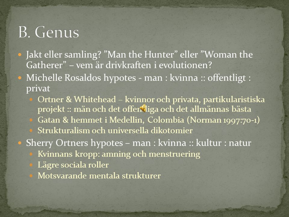 "Jakt eller samling? ""Man the Hunter"" eller ""Woman the Gatherer"" – vem är drivkraften i evolutionen? Michelle Rosaldos hypotes - man : kvinna :: offent"