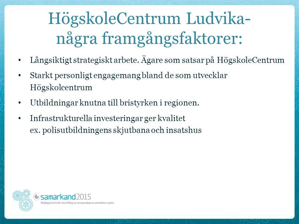HögskoleCentrum Ludvika- några framgångsfaktorer: Långsiktigt strategiskt arbete. Ägare som satsar på HögskoleCentrum Starkt personligt engagemang bla