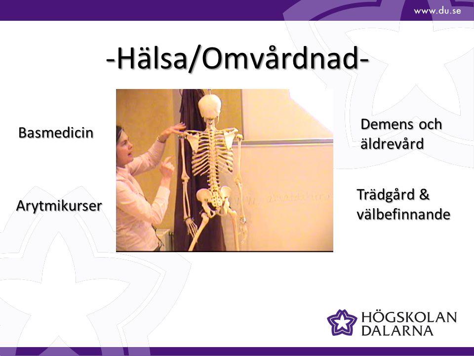 -Hälsa/Omvårdnad- Trädgård & välbefinnande Basmedicin Arytmikurser Demens och äldrevård