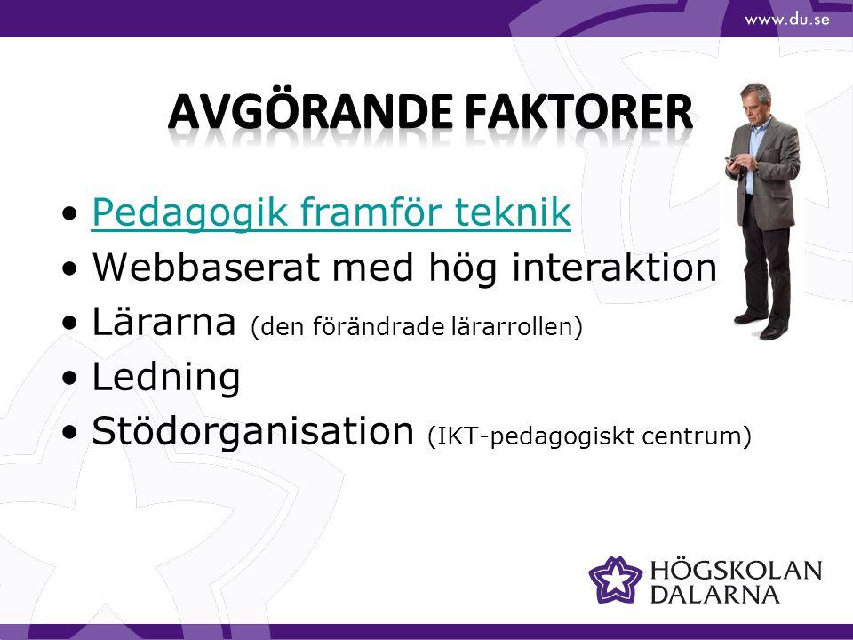 Pedagogik framför teknik Webbaserat med hög interaktion Lärarna (den förändrade lärarrollen) Ledning Stödorganisation (IKT-pedagogiskt centrum)