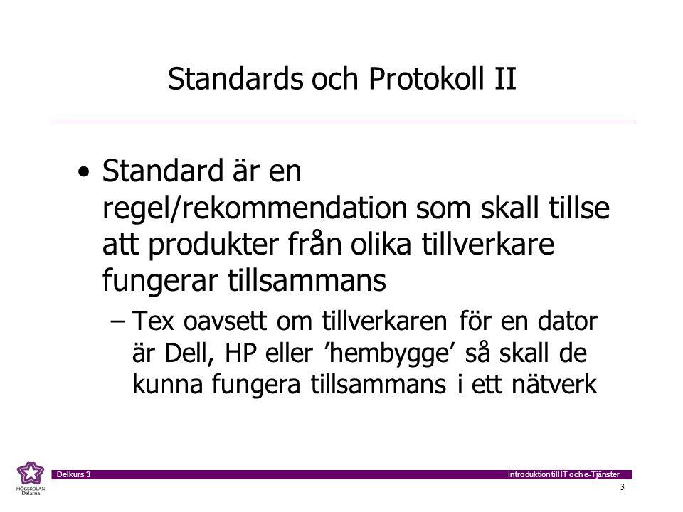 Introduktion till IT och e-Tjänster Delkurs 3 4 Standards och Protokoll III Protokoll är regelverk som styr HUR utrustningar skall kommunicera med varandra och hur data skall utbytas Vi tillser att utrustningarna 'pratar samma språk' Protokoll omfattar vanligtvis Syntax, Semantik och tidsfaktorer