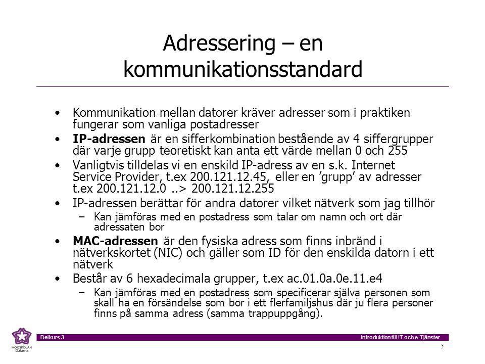 Introduktion till IT och e-Tjänster Delkurs 3 5 Adressering – en kommunikationsstandard Kommunikation mellan datorer kräver adresser som i praktiken f