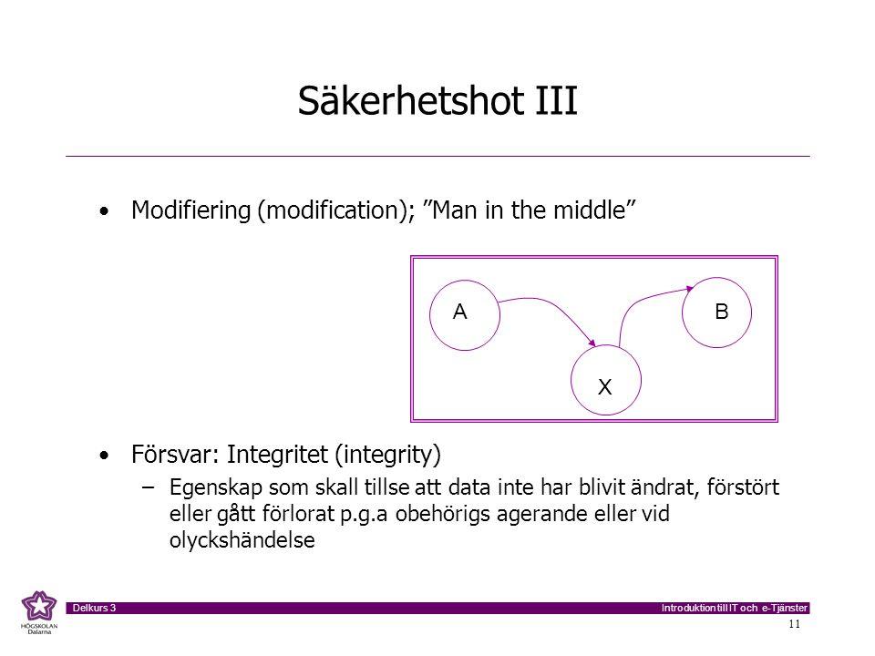 """Introduktion till IT och e-Tjänster Delkurs 3 11 Säkerhetshot III Modifiering (modification); """"Man in the middle"""" Försvar: Integritet (integrity) –Ege"""