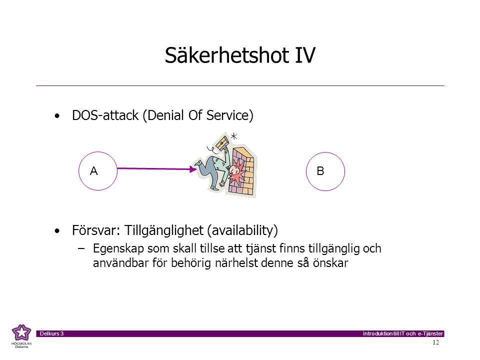 Introduktion till IT och e-Tjänster Delkurs 3 12 Säkerhetshot IV DOS-attack (Denial Of Service) Försvar: Tillgänglighet (availability) –Egenskap som s