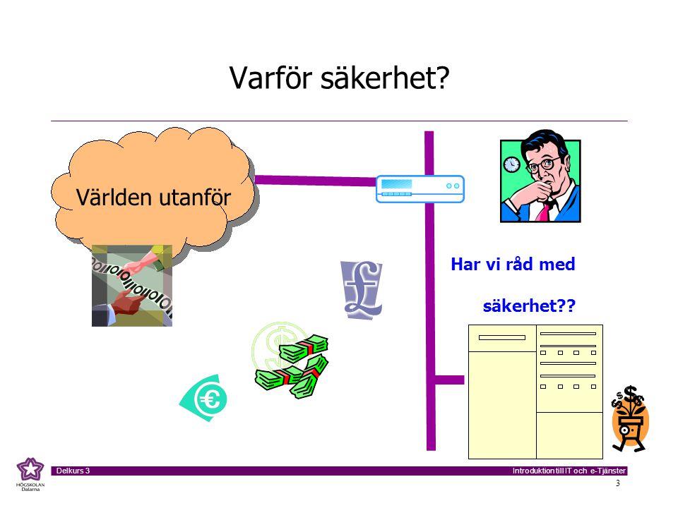 Introduktion till IT och e-Tjänster Delkurs 3 3 Varför säkerhet? Världen utanför Har vi råd med säkerhet??
