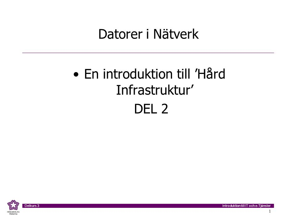 Introduktion till IT och e-Tjänster Delkurs 3 12 Typer av nätverk Wide Area Network (WAN) –Internet, transportnät för överföring av telefoni och data nationellt och internationellt Metropolitan Area Network (MAN) –'Stadsnät', specialdesignade nätverk för datorkommunikation inom storstäder Local Area Network (LAN) –Lokalt nätverk inom företag, avdelning, arbetsgrupp etc