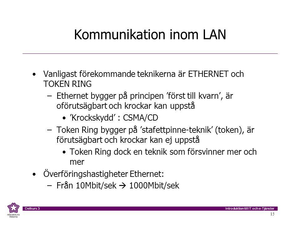 Introduktion till IT och e-Tjänster Delkurs 3 15 Kommunikation inom LAN Vanligast förekommande teknikerna är ETHERNET och TOKEN RING –Ethernet bygger på principen 'först till kvarn', är oförutsägbart och krockar kan uppstå 'Krockskydd' : CSMA/CD –Token Ring bygger på 'stafettpinne-teknik' (token), är förutsägbart och krockar kan ej uppstå Token Ring dock en teknik som försvinner mer och mer Överföringshastigheter Ethernet: –Från 10Mbit/sek  1000Mbit/sek