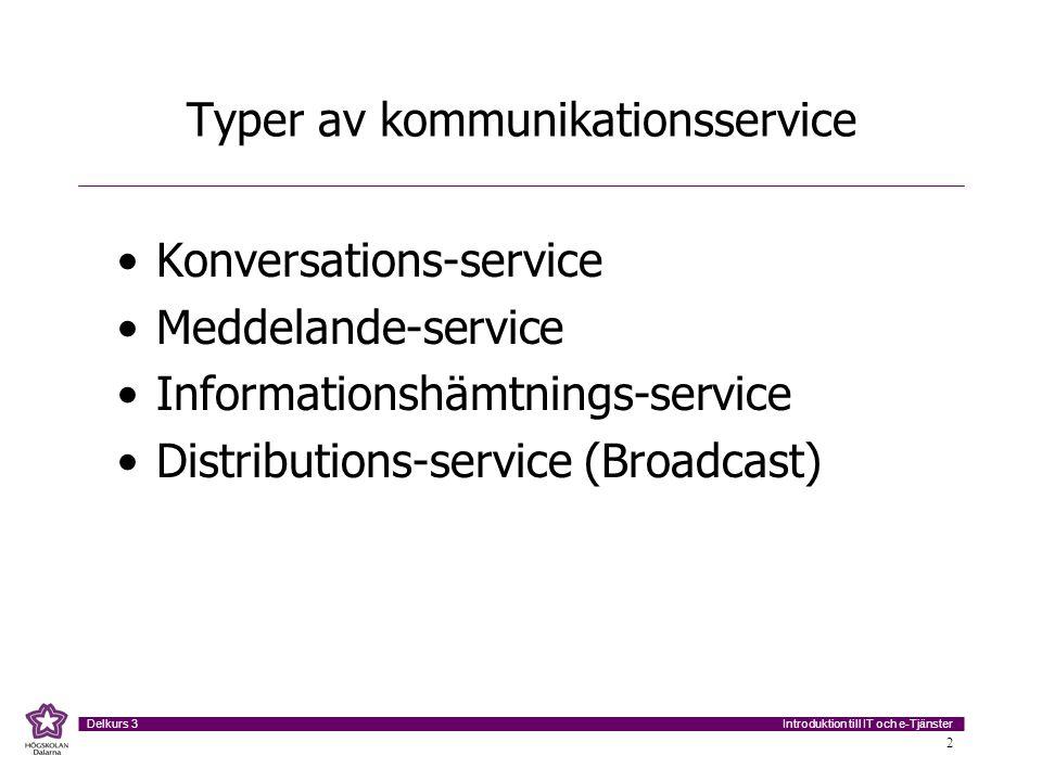 Introduktion till IT och e-Tjänster Delkurs 3 2 Typer av kommunikationsservice Konversations-service Meddelande-service Informationshämtnings-service Distributions-service (Broadcast)