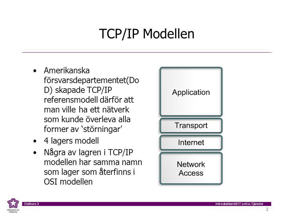 Introduktion till IT och e-Tjänster Delkurs 3 2 TCP/IP Modellen Amerikanska försvarsdepartementet(Do D) skapade TCP/IP referensmodell därför att man ville ha ett nätverk som kunde överleva alla former av 'störningar' 4 lagers modell Några av lagren i TCP/IP modellen har samma namn som lager som återfinns i OSI modellen