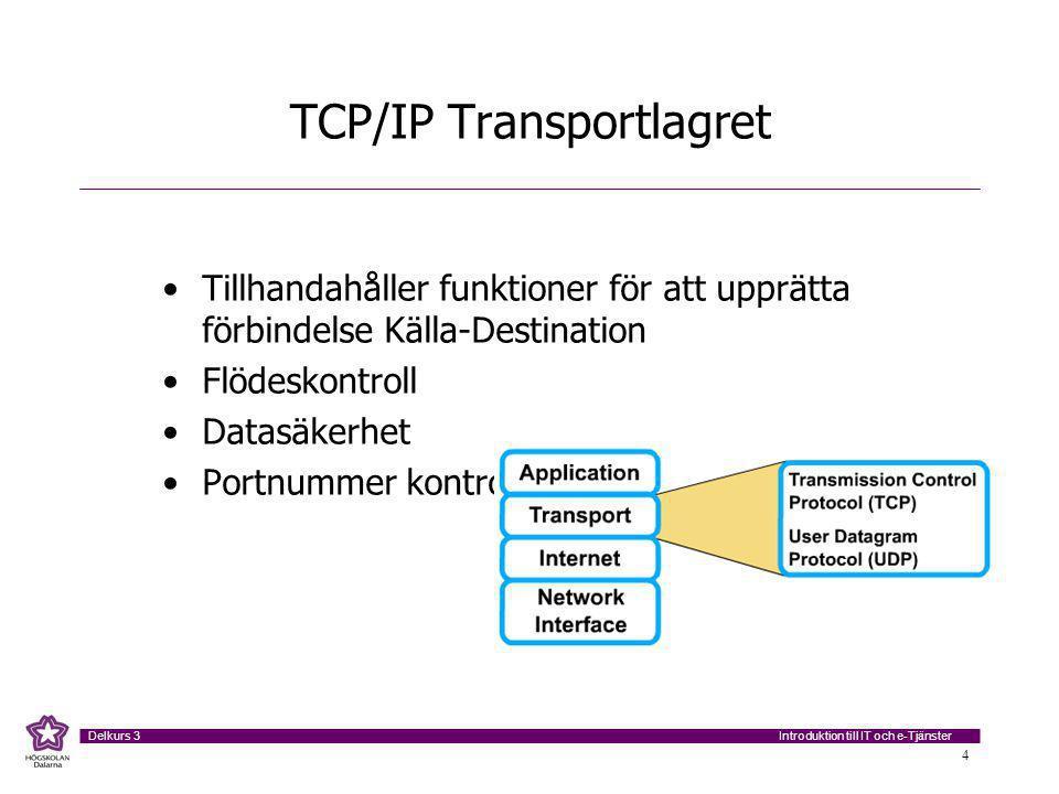 Introduktion till IT och e-Tjänster Delkurs 3 4 TCP/IP Transportlagret Tillhandahåller funktioner för att upprätta förbindelse Källa-Destination Flödeskontroll Datasäkerhet Portnummer kontroll