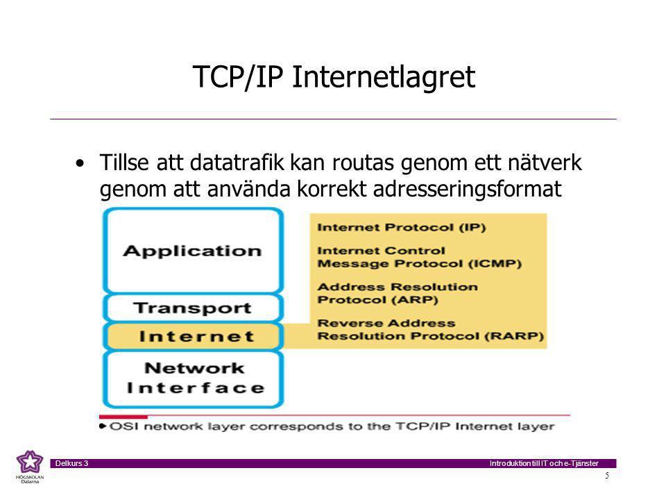 Introduktion till IT och e-Tjänster Delkurs 3 6 TCP/IP Nätverksaccesslagret Handhar alla de funktioner som återfinns i OSI modellens Datalänklager samt Fysiska lager, dvs skall tillse att datapaket kan få access till det fysiska lagret samt att regler/villkor för det fysiska lagret är uppfyllda så att kommunikation kan etableras