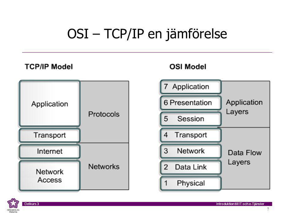 Introduktion till IT och e-Tjänster Delkurs 3 7 OSI – TCP/IP en jämförelse