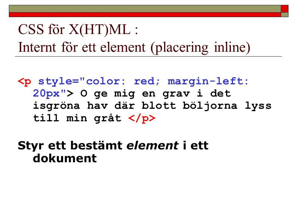CSS för X(HT)ML : Internt för ett element (placering inline) O ge mig en grav i det isgröna hav där blott böljorna lyss till min gråt Styr ett bestämt